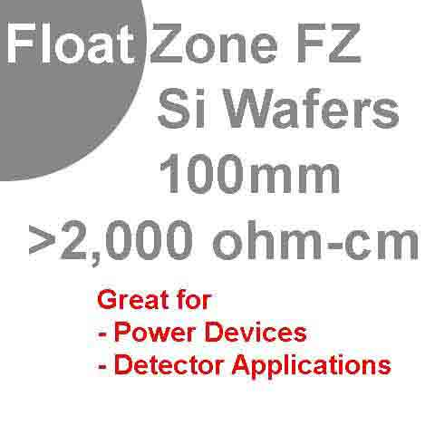100mm (4 inch) float zone silicon wafers